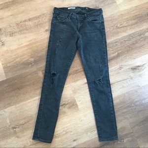 AG Black Busted Ripped Knees Skinny Jeans 26